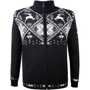 Kama MERINO SVETR 4055 fekete L - Cipzáras kötött pulóver