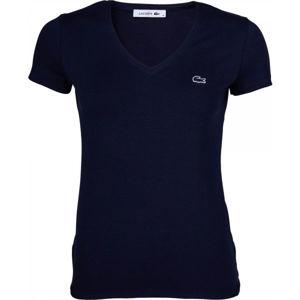Lacoste V NECK SS T-SHIRT sötétkék XS - Női póló