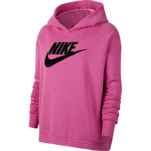 Nike NSW ICN CLSH FLC HOODIE PLUS W rózsaszín 1x - Női pulóver