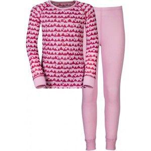 Odlo WARM KIDS SHIRT L/S PANTS LONG SET rózsaszín 116 - Gyerek funkciós szett