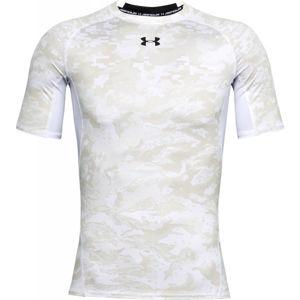 Under Armour ARMOUR HG PRINT SS fehér XL - Férfi kompressziós póló